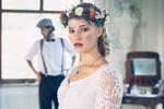 Rückenansicht Brautkleid, 70er Jahre Kleid, Blumenschmuck Natürlich